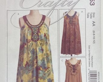 McCall's 5653 CRAFTY Loose Fun Dress Size AA 6, 8, 10, 12 Mccalls M5653 Sewing Pattern