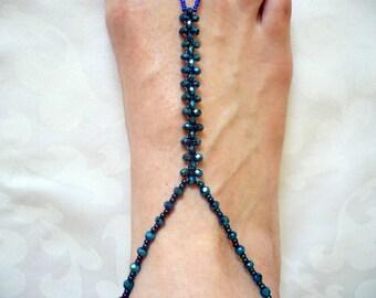 dark blue crystal barefoot sandals, boho crystal barefoot sandals