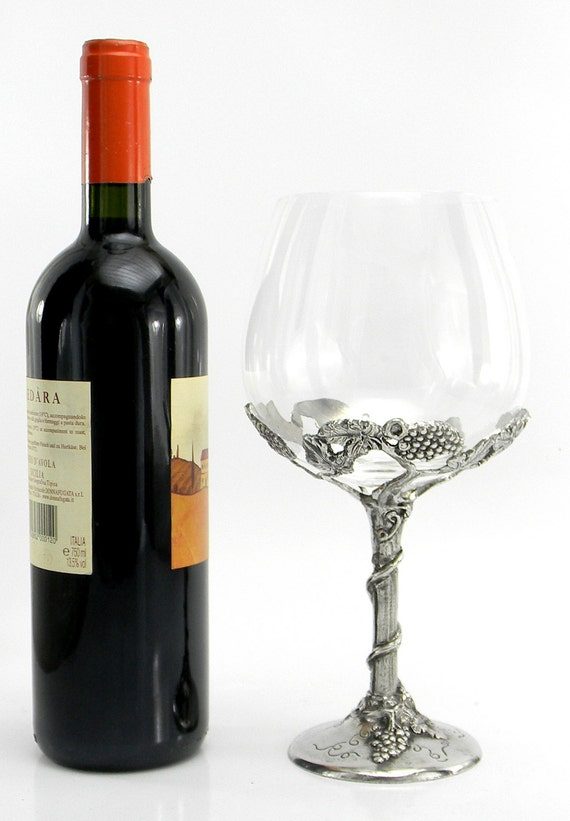 Large glass for red wine in pewter h 25 cm for Large red wine glass