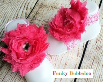 Baby Barefoot Sandals - Hot Pink Swirls - Rhinestone - Soft Baby Flower Shoes - Newborn Shoes - Toe Blooms - Baby Shower Gift - Photo Props