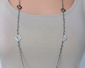 Labradorite Necklace Genuine Labradorite Oxidized Sterling Silver Clovers Silver Quatrefoil Gemstone Necklace Unique Labradorite Chain SC023