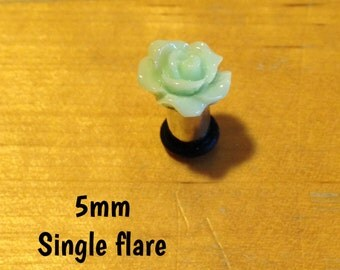 5mm mint green rose single flare plugs for stretched ears