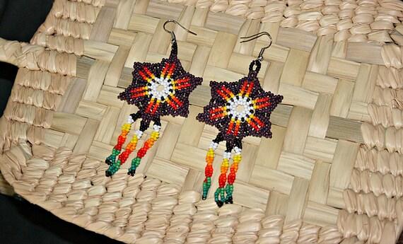 Huichol Earrings - Beaded Star Earrings - Native American Jewelry - Medicine Wheel Colors - Native Colors - Mexican Jewelry