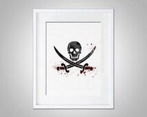 Watercolor Art Pirate Skulls Cross Bones Sword 5x7 8x10 11x14 Wall Art Decor Pirate Print Blackbeard Pop Art Wall Hanging  Black & Red Print