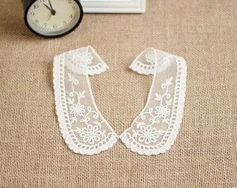 One pair ( two pieces) Lace Collar, Lace Trim Collar,  Lace Collar Applique,Crochet Lace Trim,Tee, Vintage Lace Collar ,DIY Lace,MaS-JL02