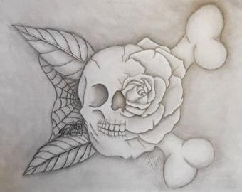 skull rose with spider, skull, rose, spider, crossbones, tattoo, JMCARTNSCRAFTS, original, abstract, art, graphite,pencil homedecor,handmade