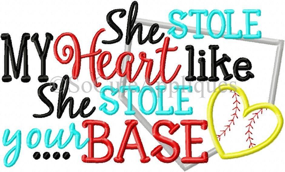 Embroidery Design 6x10 She Stole My Heart Like She Stole