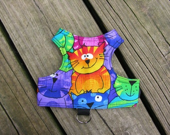 SafetyKatz Walking Jacket Happy Cats Print ; Custom Made Cat Reversible Harness Vest Collar Kitten Kitty