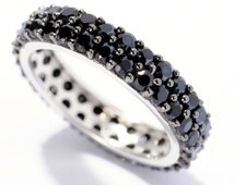 SALE-20% DISCOUNT!!! Use Coupon Code (VALENTDISC20) Sterling Silver 2.5cttw Black Spinel Eternity Band Ring