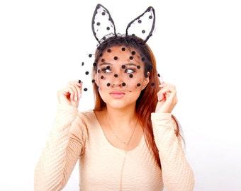 Polka Dot Bunny Veil Headband