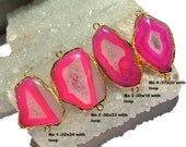 1 Pc 24Kt Gold Electroplated Edge Neon Pink Druzy Agate Geode Slice Connector Double Loop Pendant, Station Connector, Charm (SKU1838)
