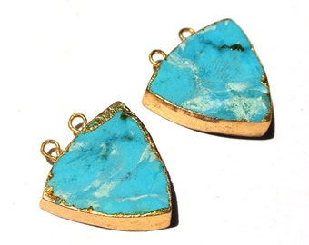 1Pc 24K Gold Electroplated Howlite Turquoise Trillion Connrector, Gold Layered HowliteTurquoise Double Loop Pendant, SKU1008