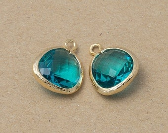 Blue Zircon Glass Pendant, Jewelry Supplies, Polished Gold Plated over Brass - 2 Pieces-[BGP0025]-BLUEZIRCON/PG