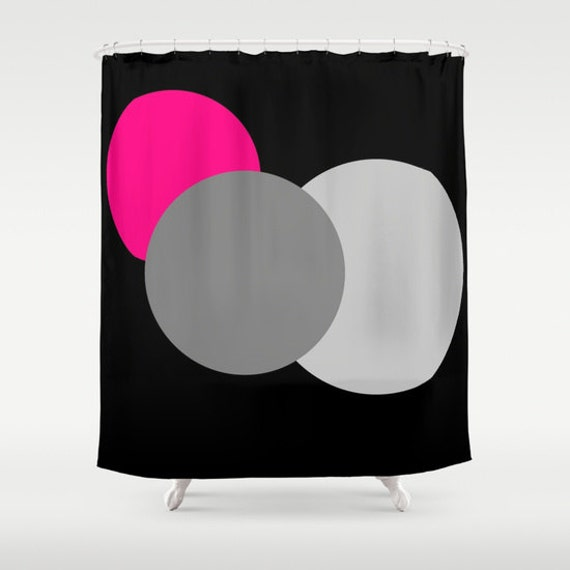 Shower Curtain, Pink Grey & Black Circles Shower Curtain, Bathroom ...