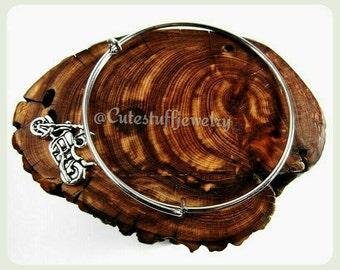 Motorcycle Bangle Bracelet, Motorcycle Bracelet, Harley Bracelet, Harley Bangle, Bike Bracelet, Handmade Biker Jewelry, Biker Bracelet