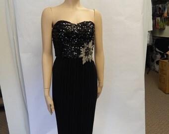 Jerri Lynn Black Sequin Gown, 1980s