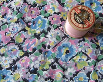 1950's floral  dressmaking fabric, over 4 metres