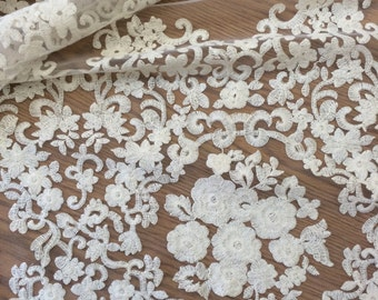 Dark Ivory Floral Vintage Lace BTY