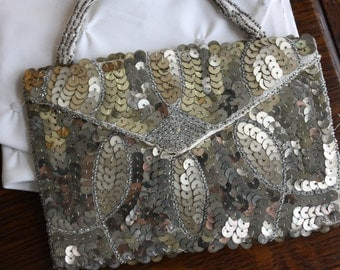Vintage 1930s Sequin and Beaded Art Deco Evening Purse