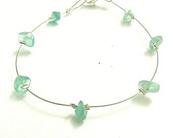 Wire bracelet, blue gemstone jewelry apatite bracelet nature romantic jewelry natural gemstone bracelet apatite jewel romantic bracelet laya