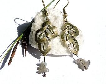 Handmade earring, natural gemstone jewelry, bohemian earthy earring, labradorite jewelry, gemstone earring handmade jewelry pagan vegan wina