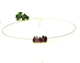 Amethyst choker necklace, dainty purple gemstone jewelry, silver wire choker dainty choker gemstone silver necklace amethyst jewelry shikky
