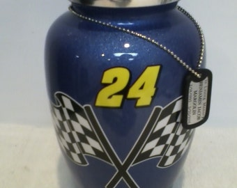 232  #24 Racing Blue Custom Adult Metal Cremation Funeral Urn with Checkered Flag,
