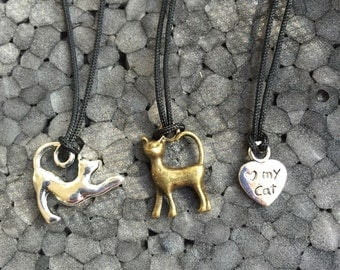 Kitty Cat Charm Necklace -Cats Kittens