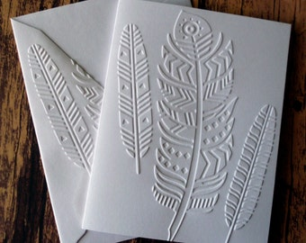 Tribal Feather Cards, Set of 5, Embossed Note Cards, Greeting Cards, Blank Note Card Set, Indian Feathers, Blank Stationery for Him or Her