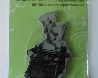Typewriter Stamp, Stampendous Cling Rubber Stamp, Large Typewriter Stamp, Just a Note Stamp, Large Rubber Cling Stamp