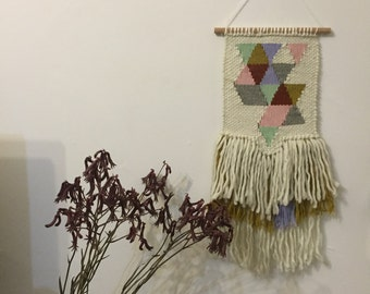 S A L E: Handwoven wall hanging - 'Geo Pink'