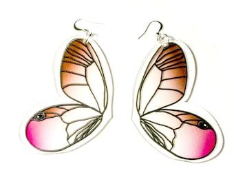 PANIKA Pink-brown flying wings statement earrings / laser cut perspex earrings