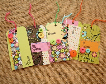 Gift tags Set of 5- Netrual Florals