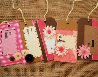 Gift Tags Set of 5 Brown and Pink Flowers