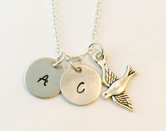 Initial Necklace, Mommy Bird Necklace, Family Necklace, Bird Initial Necklace, Personalized Family Necklace, Mommy Gift