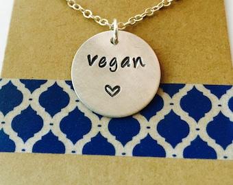 Sale -Vegan Necklace, Hand Stamped Vegan Necklace