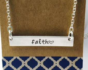 Hand Stamped Bar Necklace Faith Bar Necklace Personalized Bar Necklace