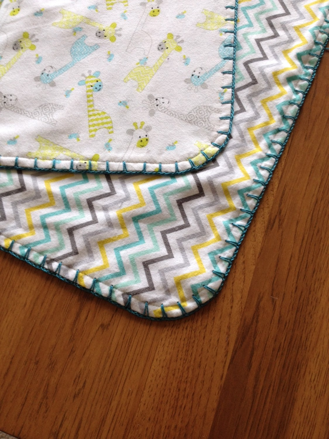 Flannel Baby Blanket-Crochet Edge-Baby by NiftyNikkel on Etsy