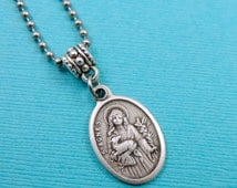 Patron Saint of Young Girls Teenagers St Agnes Pewter Medal Necklace Stainless Steel Ball Chain Pouch FastShip Ai