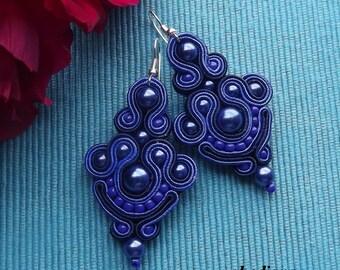 More Navy Blue Soutache Earrings