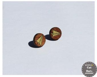 Geometric earrings. Origami planes.
