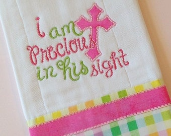 Christian Burp Cloth, Baby Gifts, Burp Cloths, Embroidered Burp Cloths, Appliquéd, Baby Girl Gift, Christian Baby Gift