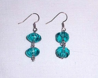 Beaded Dangle Earrings Made from Melon Glass Beads in Teal Blue E-27