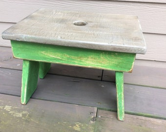 Vintage Cricket Keyhole Foot Stool - Annie Sloan Chalk Paint Antibes Green Distressed
