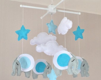 Baby Mobile - Elephant Mobile - Cot Mobile - Clouds, stars and Elephants - Baby boy Mobile - Nursery Decror - Pastel Decor - Crib Mobile