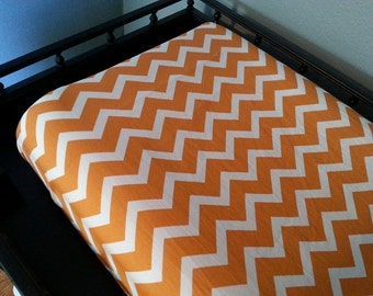 Orange and White Chevron Changing Pad Cover