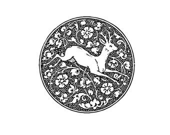 "Ancient Deer Woodcut Temporary Tattoo - ""A Run Through the Woods"""