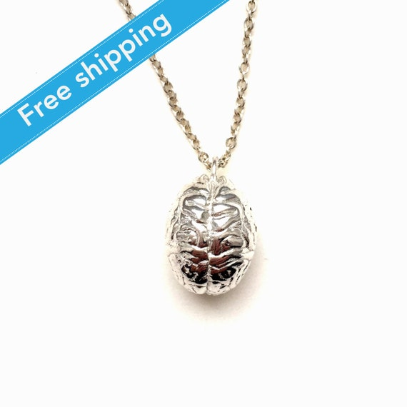 science jewelry silver brain necklace 3d by somersault1824