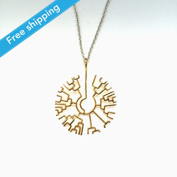 science jewelry: 14K Gold plated phylogenetic by somersault1824