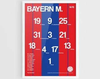 FC Bayern Munich 2014-2015 Football team squad typographics print posters